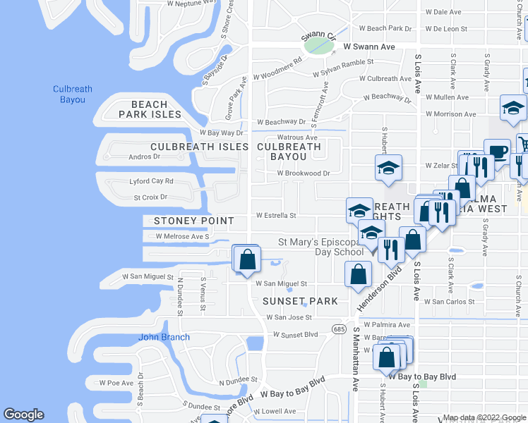 map of restaurants, bars, coffee shops, grocery stores, and more near 4711 West Estrella Street in Tampa