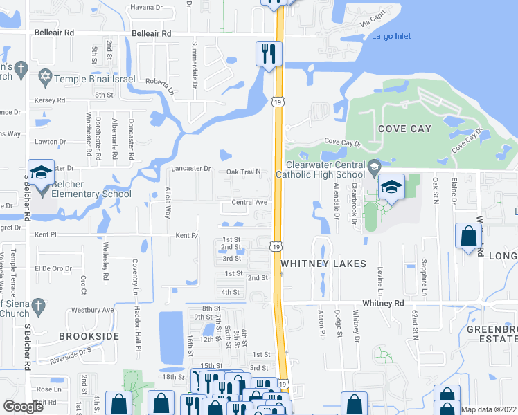 map of restaurants, bars, coffee shops, grocery stores, and more near 17174 U.S. 19 North in Clearwater