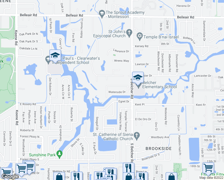 map of restaurants, bars, coffee shops, grocery stores, and more near 2152 Waterside Drive in Clearwater