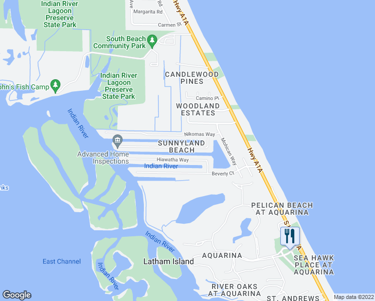 map of restaurants, bars, coffee shops, grocery stores, and more near 311 Arrowhead Lane in Melbourne Beach