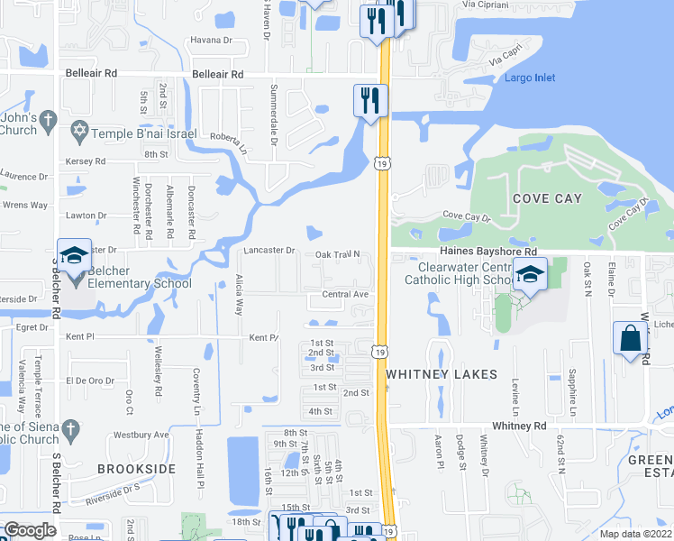 map of restaurants, bars, coffee shops, grocery stores, and more near 2554 Oak Trail South in Clearwater