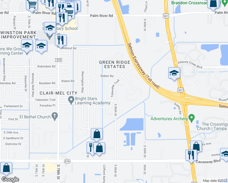 map of restaurants, bars, coffee shops, grocery stores, and more near 1802 South 86th Street in Tampa