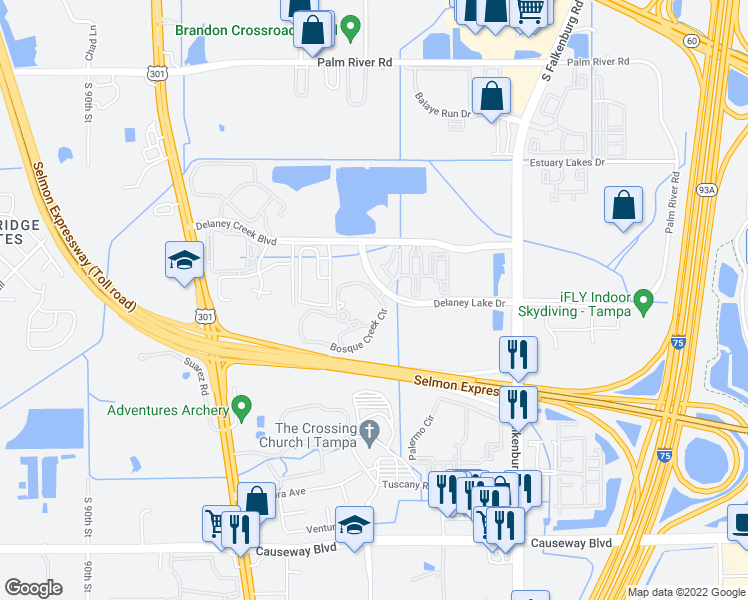 map of restaurants, bars, coffee shops, grocery stores, and more near 9712 Bosque Creek Circle in Tampa