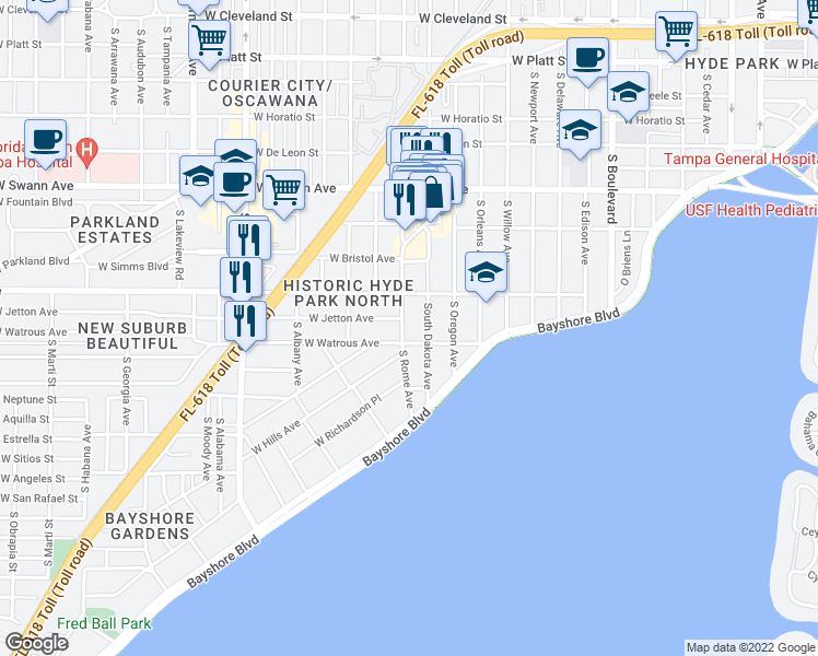 map of restaurants, bars, coffee shops, grocery stores, and more near 916 South Rome Avenue in Tampa