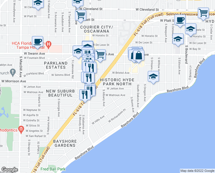 map of restaurants, bars, coffee shops, grocery stores, and more near 1815 West Jetton Avenue in Tampa