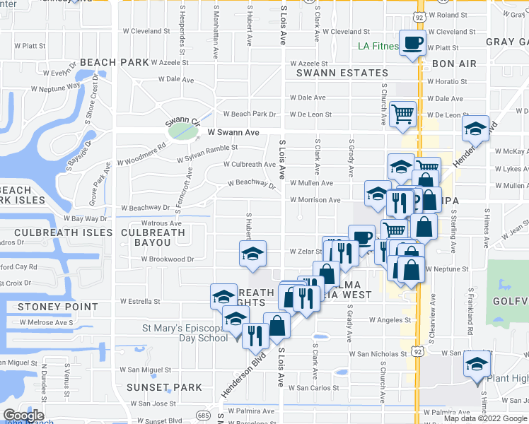 map of restaurants, bars, coffee shops, grocery stores, and more near 4207 West Jetton Avenue in Tampa