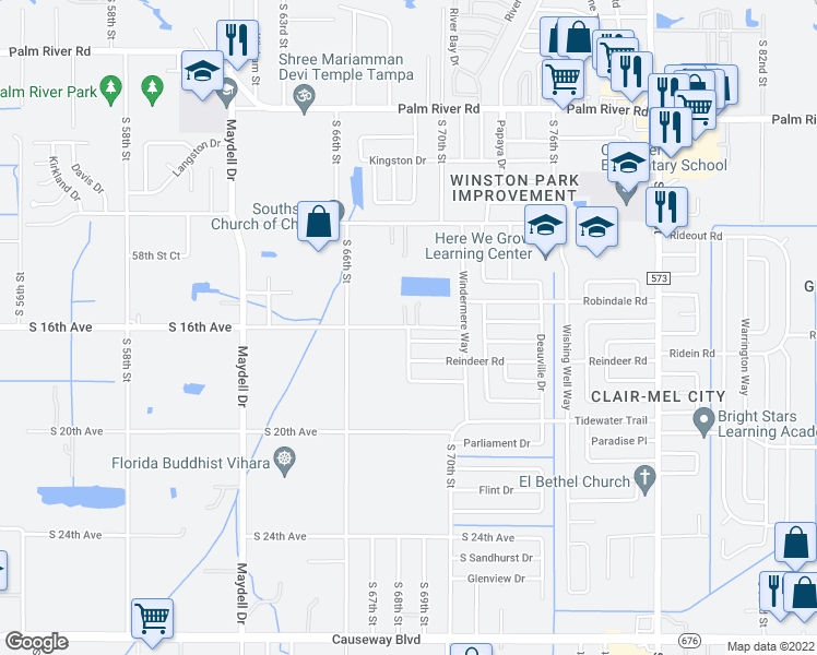 map of restaurants, bars, coffee shops, grocery stores, and more near 6804 South 16th Avenue in Tampa