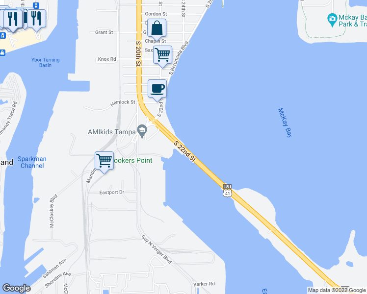 map of restaurants, bars, coffee shops, grocery stores, and more near S 22nd St in Tampa
