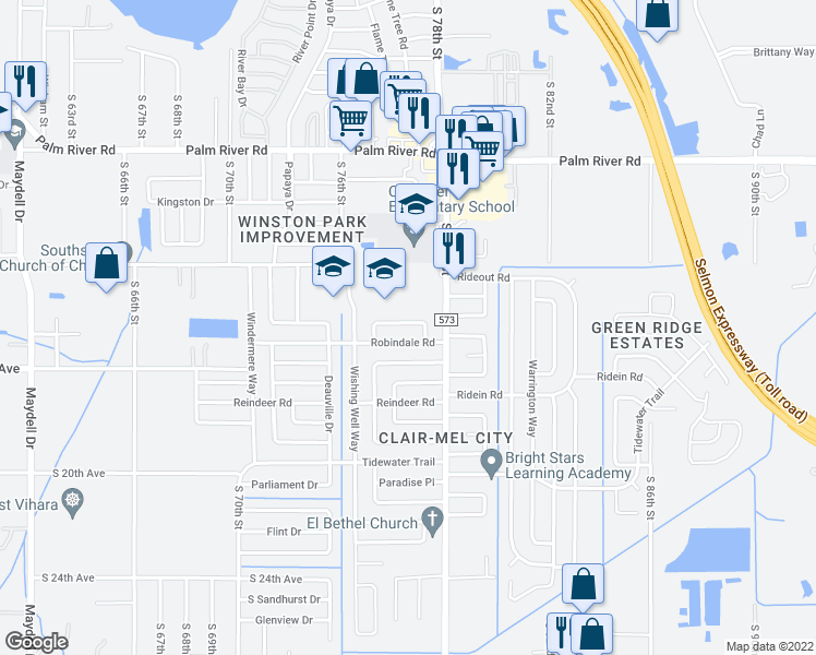 map of restaurants, bars, coffee shops, grocery stores, and more near 7519 Carolton Circle in Tampa