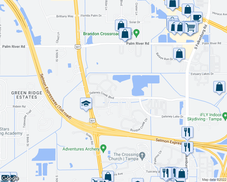 map of restaurants, bars, coffee shops, grocery stores, and more near 1502 Marsh Cove Court in Tampa