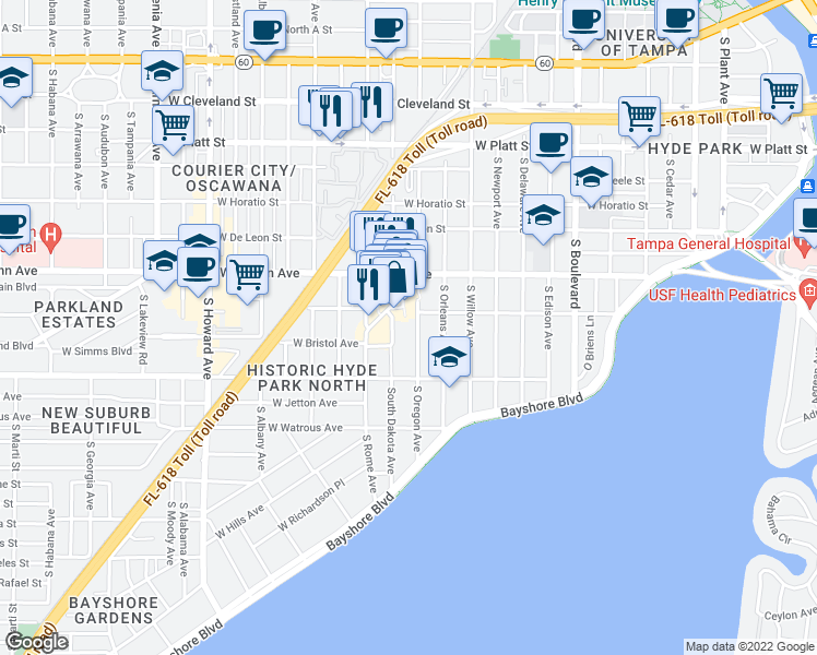 map of restaurants, bars, coffee shops, grocery stores, and more near 1401-1499 West Inman Avenue in Tampa