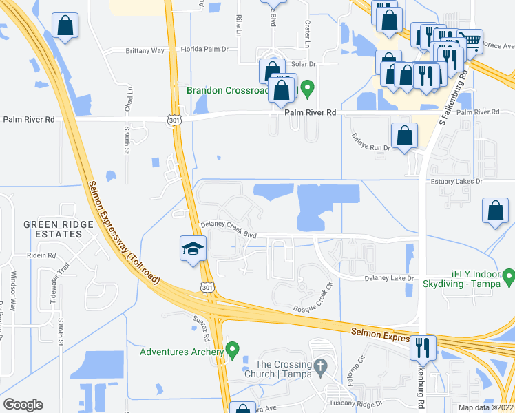 map of restaurants, bars, coffee shops, grocery stores, and more near 1200-1206 High Hammock Drive in Tampa