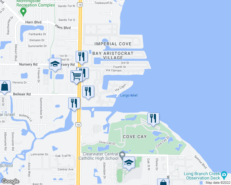 map of restaurants, bars, coffee shops, grocery stores, and more near Via Capri in Clearwater