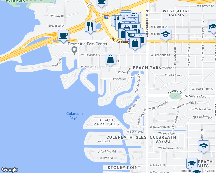 map of restaurants, bars, coffee shops, grocery stores, and more near 5123 West Neptune Way in Tampa