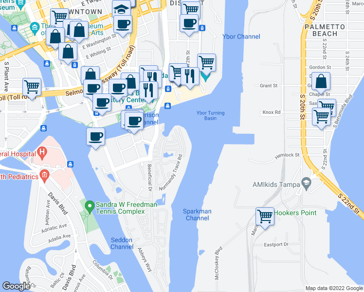 map of restaurants, bars, coffee shops, grocery stores, and more near 710 Seaboard Place in Tampa