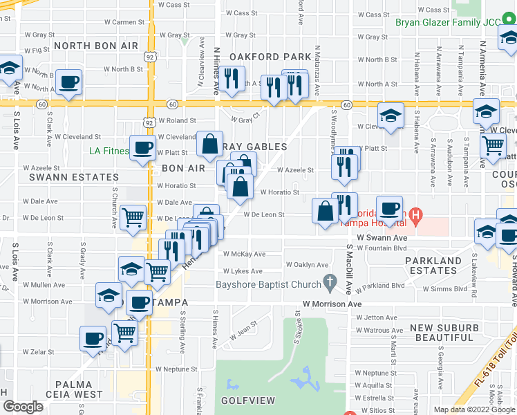 map of restaurants, bars, coffee shops, grocery stores, and more near 3321 West De Leon Street in Tampa