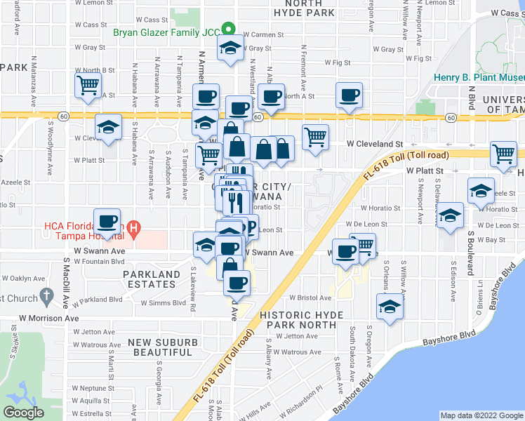 map of restaurants, bars, coffee shops, grocery stores, and more near 2102 West Horatio Street in Tampa
