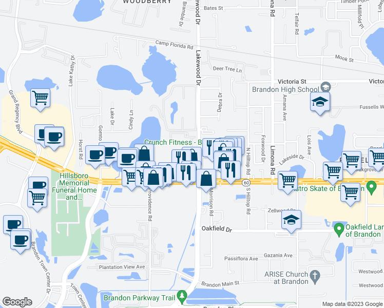 Map Of Brandon Florida.201 Derby Downs Pl Brandon Fl Walk Score