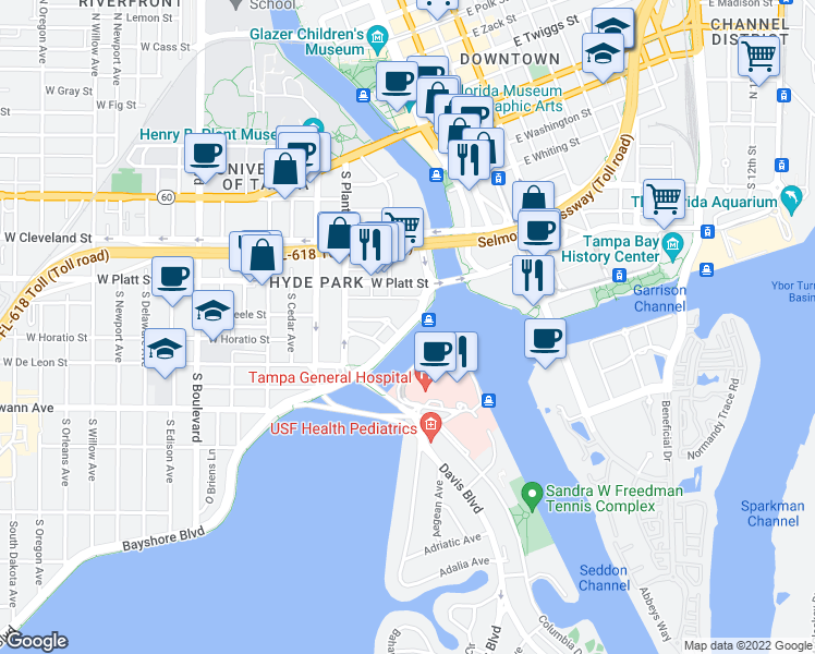 map of restaurants, bars, coffee shops, grocery stores, and more near 182-298 West Beach Place in Tampa