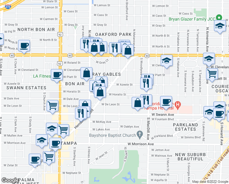 map of restaurants, bars, coffee shops, grocery stores, and more near 3315 West Horatio Street in Tampa