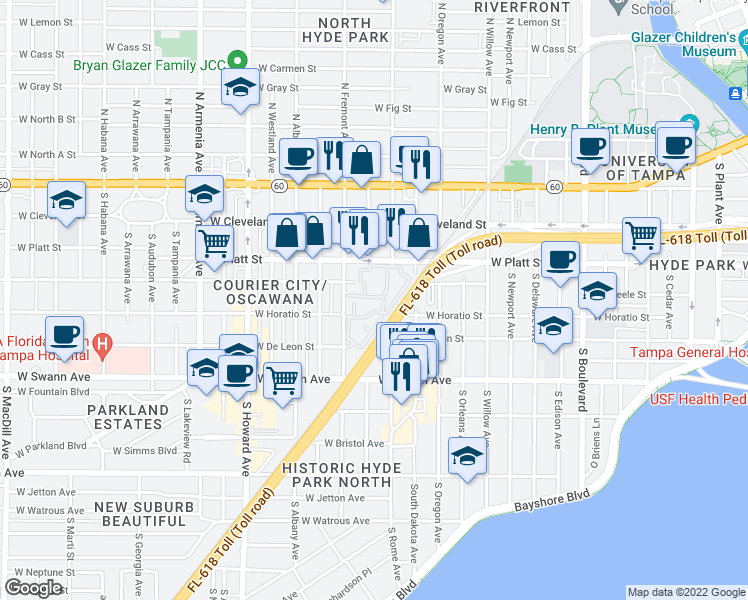 map of restaurants, bars, coffee shops, grocery stores, and more near 502 South Fremont Avenue in Tampa