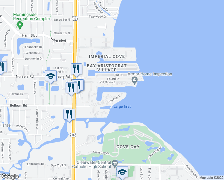 map of restaurants, bars, coffee shops, grocery stores, and more near 2749 Via Cipriani in Clearwater