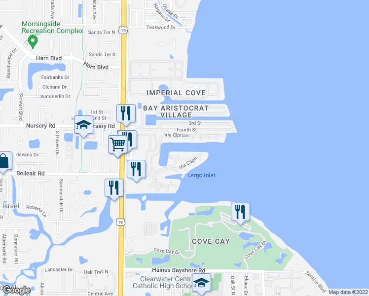 map of restaurants, bars, coffee shops, grocery stores, and more near 2733 Via Cipriani in Clearwater