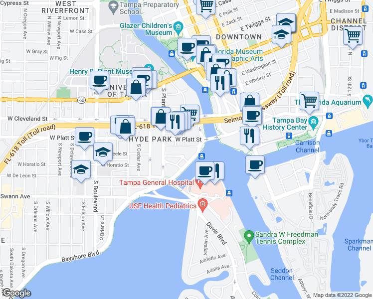 map of restaurants, bars, coffee shops, grocery stores, and more near 101 West Beach Place in Tampa