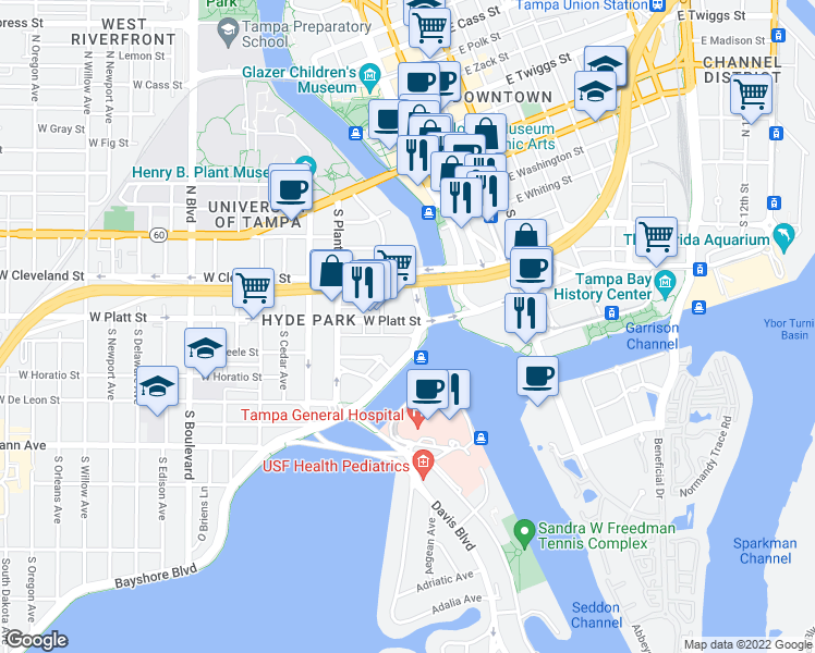 map of restaurants, bars, coffee shops, grocery stores, and more near 275 Bayshore Boulevard in Tampa