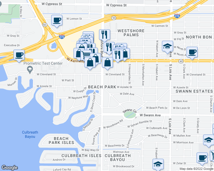 map of restaurants, bars, coffee shops, grocery stores, and more near 215 South Renellie Drive in Tampa