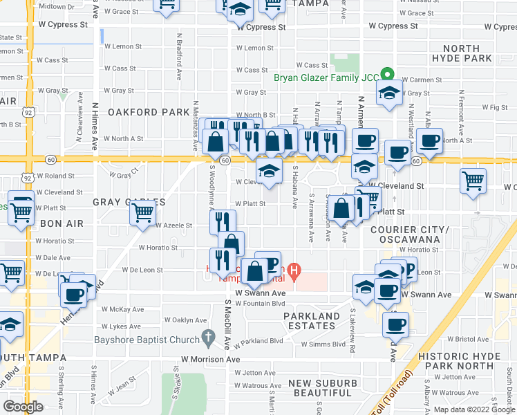 map of restaurants, bars, coffee shops, grocery stores, and more near 301 South Gomez Avenue in Tampa