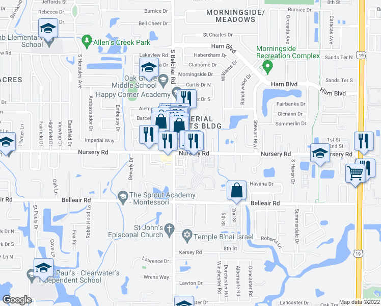 map of restaurants, bars, coffee shops, grocery stores, and more near 2245 Nursery Road in Clearwater