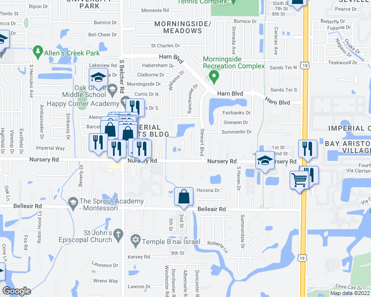 map of restaurants, bars, coffee shops, grocery stores, and more near 1481 Excaliber Drive in Clearwater