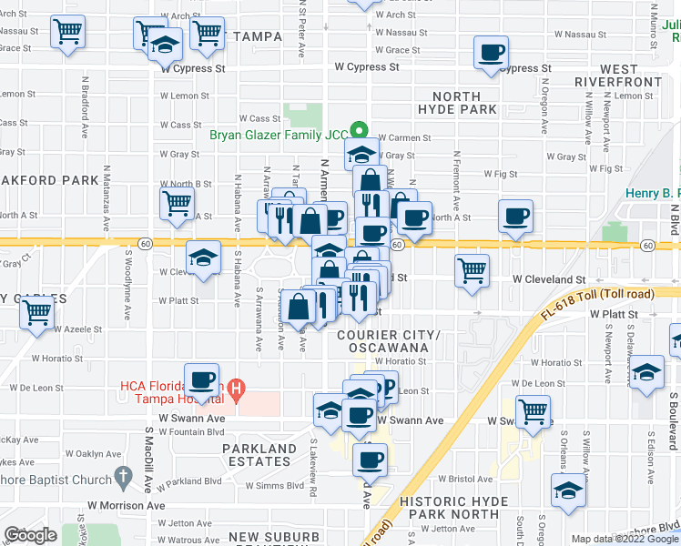 map of restaurants, bars, coffee shops, grocery stores, and more near 111 South Moody Avenue in Tampa