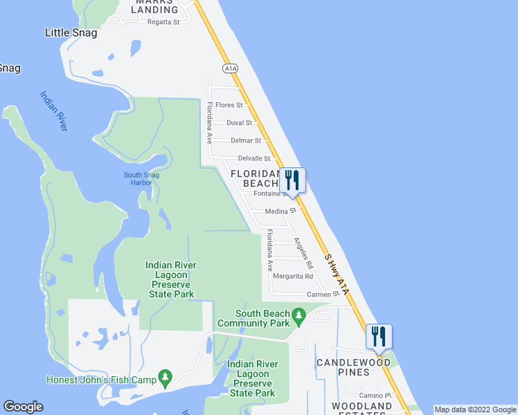 map of restaurants, bars, coffee shops, grocery stores, and more near 120 Medina Street in Melbourne Beach