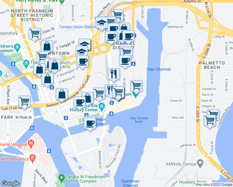 map of restaurants, bars, coffee shops, grocery stores, and more near 449 South 12th Street in Tampa