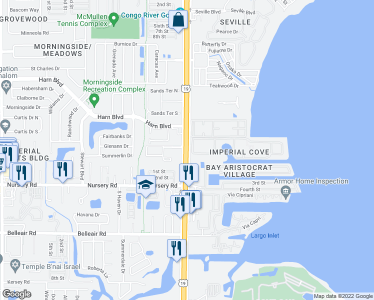 map of restaurants, bars, coffee shops, grocery stores, and more near 19029 Imperial Cove in Clearwater