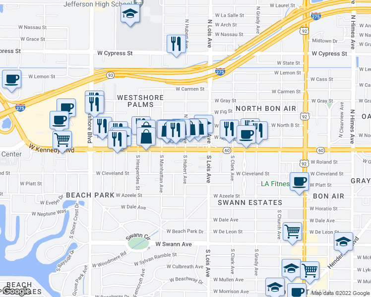 map of restaurants, bars, coffee shops, grocery stores, and more near W Kennedy Blvd & N Hubert Ave in Tampa