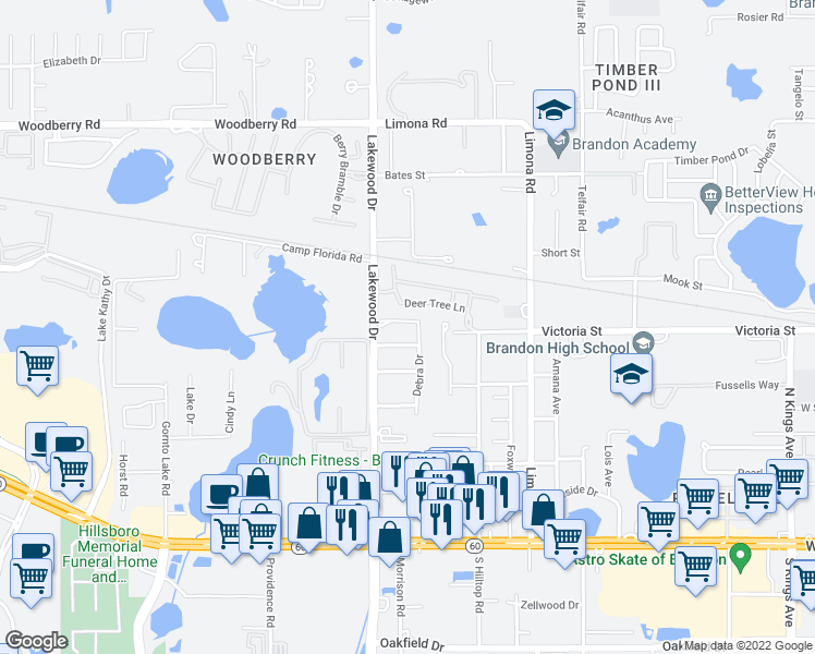 map of restaurants, bars, coffee shops, grocery stores, and more near 510 Debra Drive in Brandon