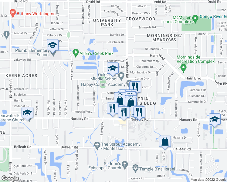 map of restaurants, bars, coffee shops, grocery stores, and more near 2150 Alemanda Drive in Clearwater