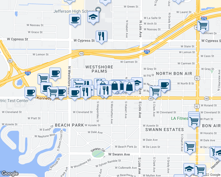 map of restaurants, bars, coffee shops, grocery stores, and more near 204 North Manhattan Avenue in Tampa