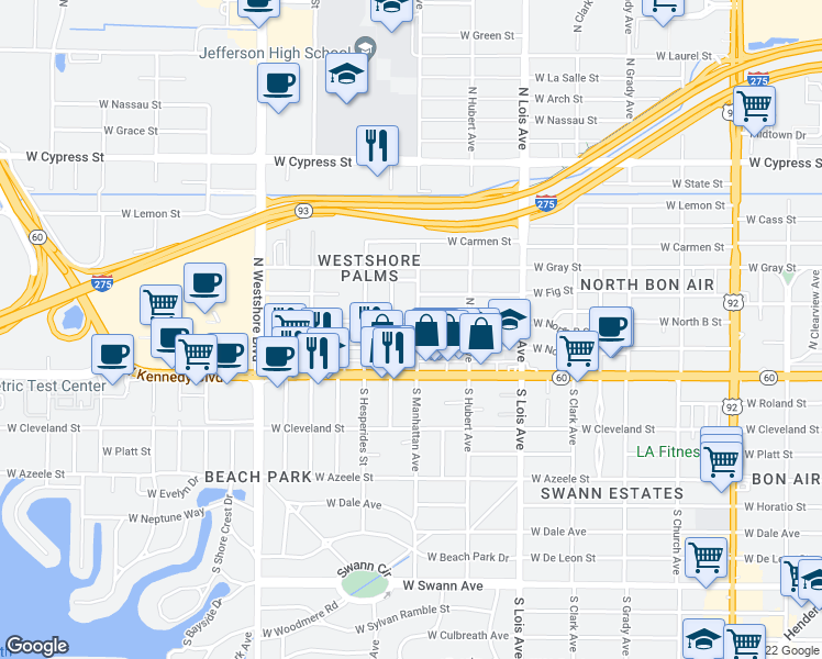map of restaurants, bars, coffee shops, grocery stores, and more near 208 North Manhattan Avenue in Tampa
