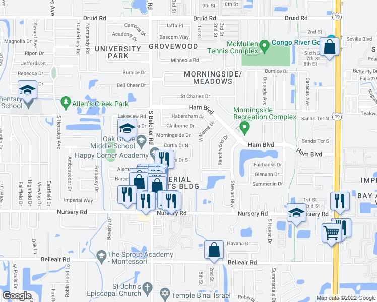 map of restaurants, bars, coffee shops, grocery stores, and more near 1358 Curtis Drive East in Clearwater