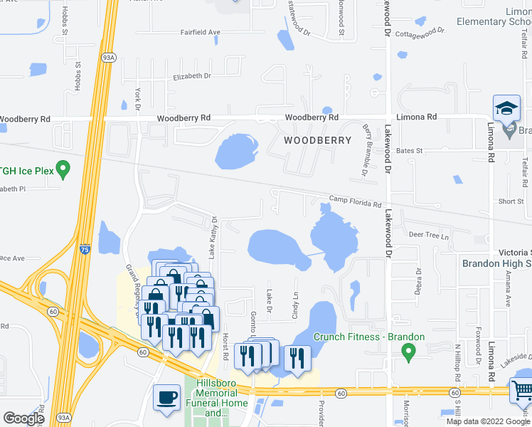 map of restaurants, bars, coffee shops, grocery stores, and more near 631 Gornto Lake Road in Brandon