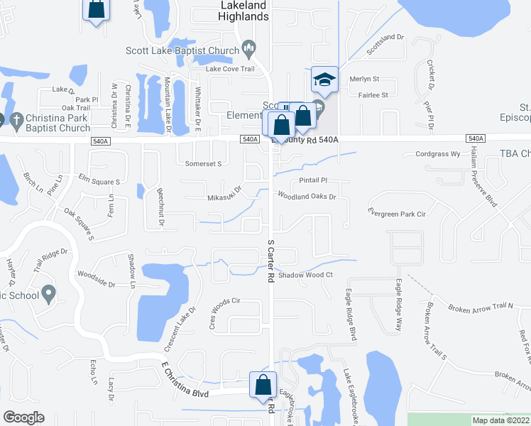 map of restaurants, bars, coffee shops, grocery stores, and more near 965 Christina Chase Drive in Lakeland
