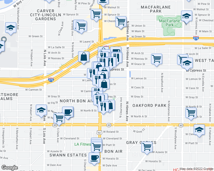 map of restaurants, bars, coffee shops, grocery stores, and more near 3709 West Carmen Street in Tampa