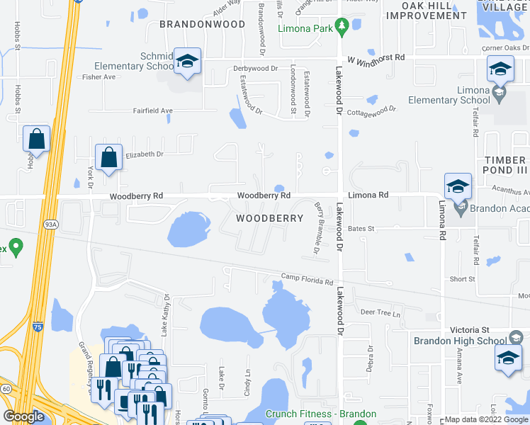 map of restaurants, bars, coffee shops, grocery stores, and more near 801 Erik Lake Road in Brandon