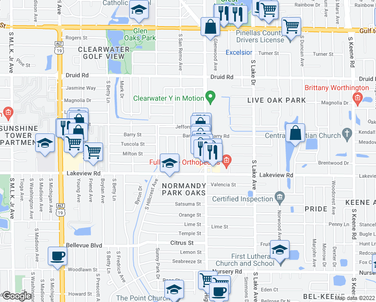 map of restaurants, bars, coffee shops, grocery stores, and more near 1243 South San Remo Avenue in Clearwater