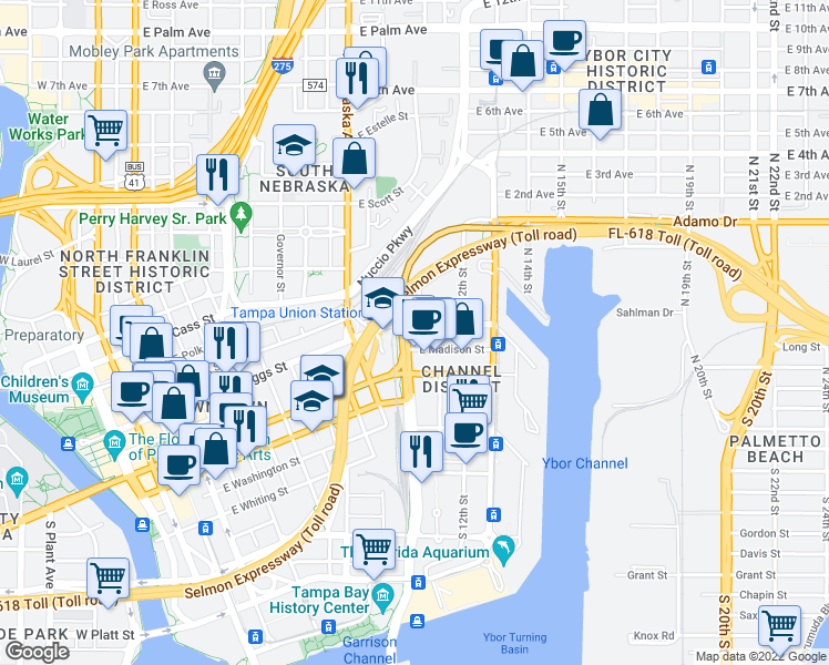 map of restaurants, bars, coffee shops, grocery stores, and more near 1105 East Twiggs Street in Tampa