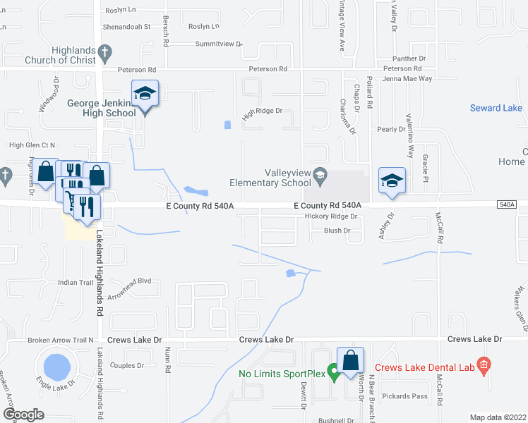 map of restaurants, bars, coffee shops, grocery stores, and more near 2668 Hickory Ridge Drive in Lakeland